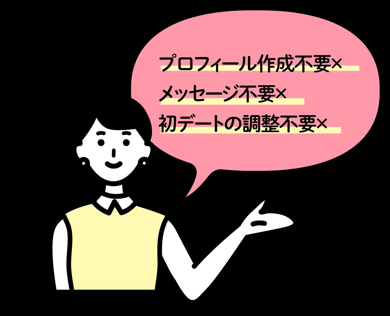 プロフィール作成不要× メッセージ不要× 初デートの調整不要×